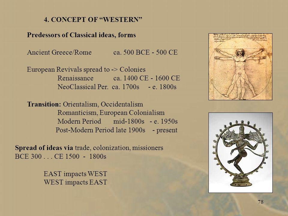 77 CONCEPT OF WESTERN Origin and spread of ideas, forms Ancient Greece/Romeca. 500 BCE - 500 CE Europe Renaissanceca. 1400 CE - 1600 CE NeoClassical P