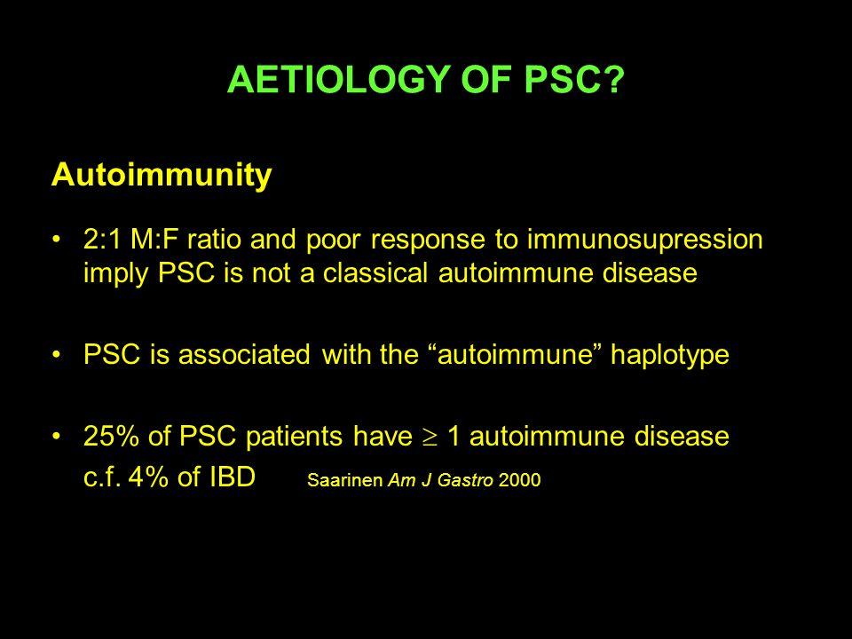 Immunosupression in PSC Combination Rx UDCA 500-750/d + Prednisolone 1mg/kg/d + Azathioprine 1-1.5 mg/kg/d Median 41 mo All had biochemical improvement 6/10 had histological improvement Only 1/10 had radiological deterioration Schramm et al Ann Int Med 1999