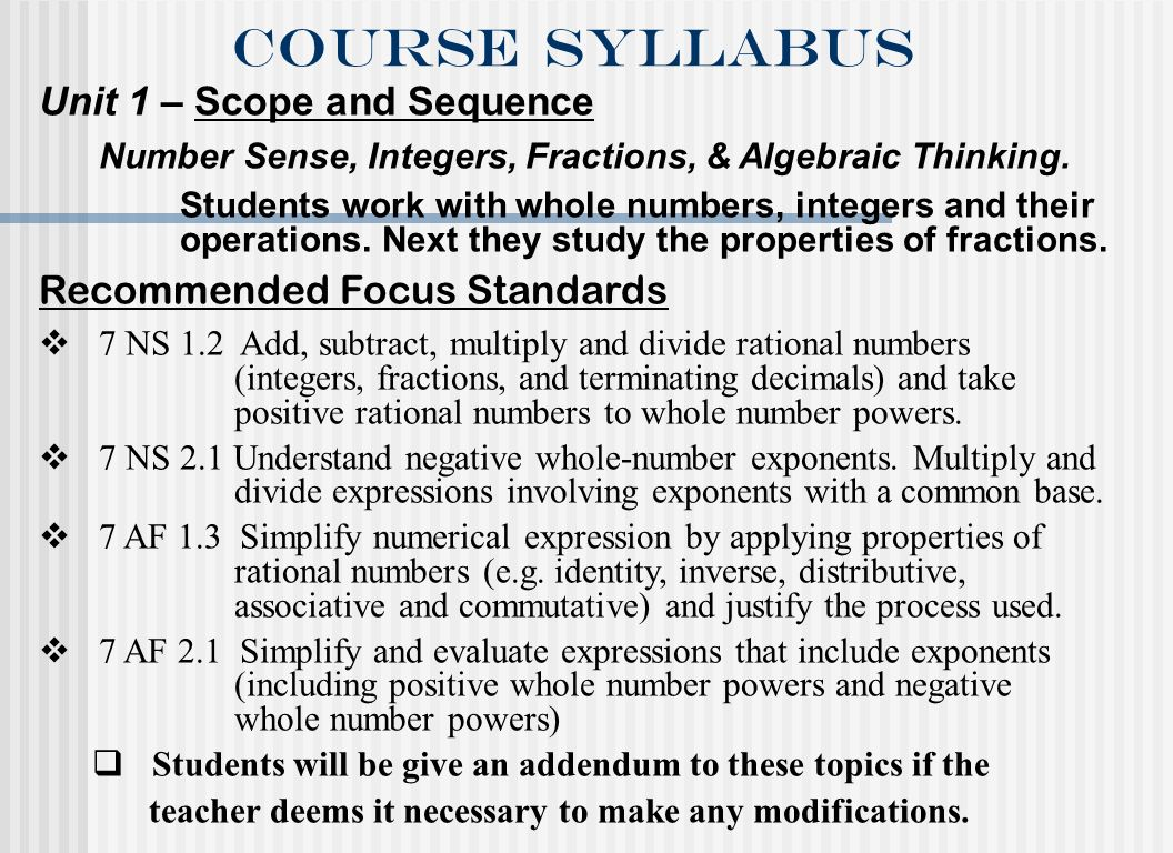 Course syllabus Unit 1 – Scope and Sequence Number Sense, Integers, Fractions, & Algebraic Thinking. Students work with whole numbers, integers and th