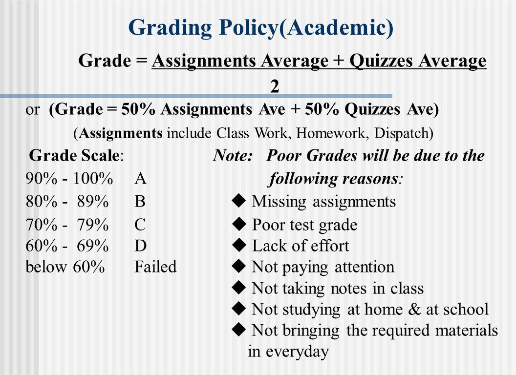Grade = Assignments Average + Quizzes Average 2 or (Grade = 50% Assignments Ave + 50% Quizzes Ave) (Assignments include Class Work, Homework, Dispatch