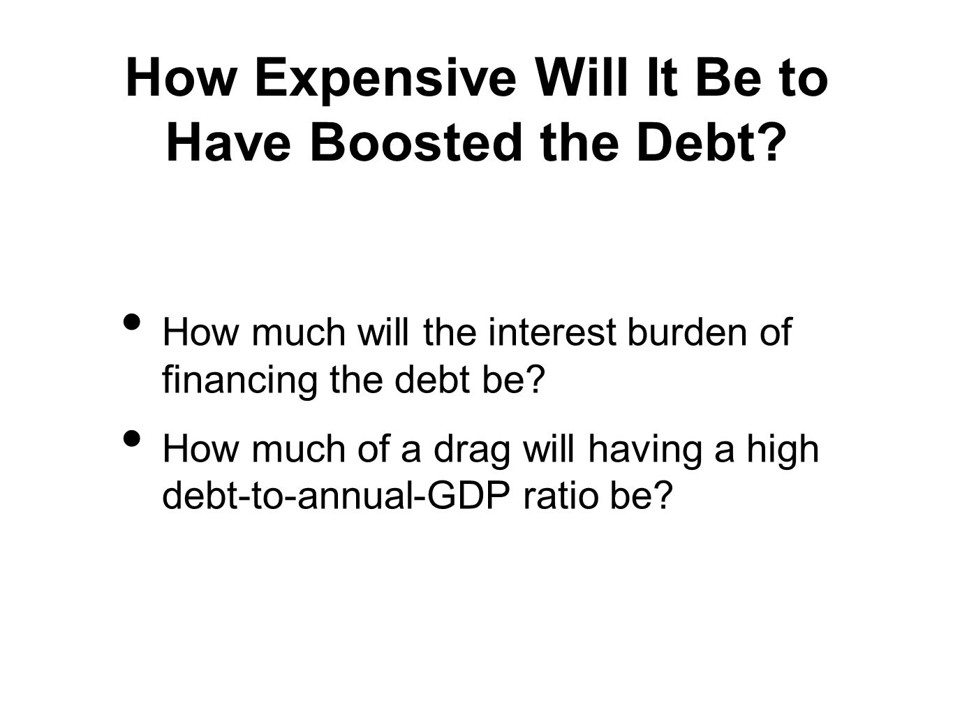 How Expensive Will It Be to Have Boosted the Debt.