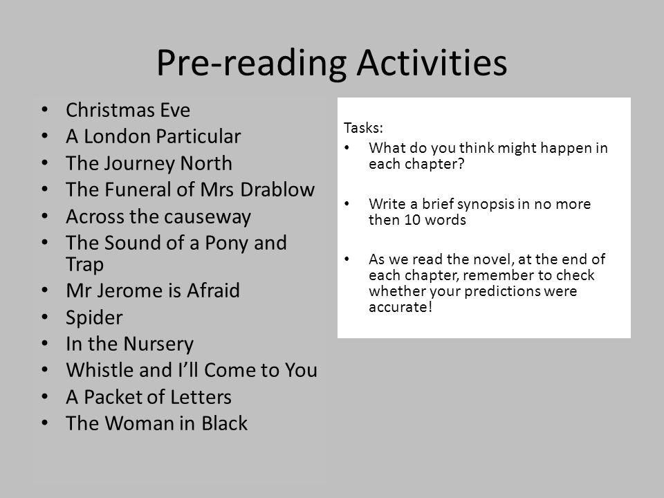 Pre-reading Activities Christmas Eve A London Particular The Journey North The Funeral of Mrs Drablow Across the causeway The Sound of a Pony and Trap