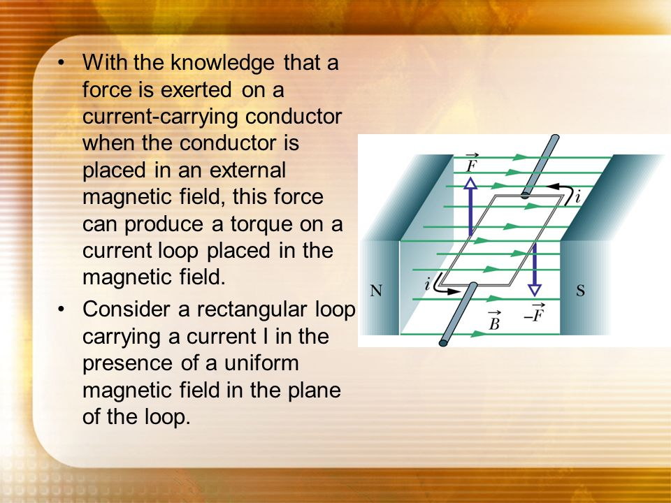With the knowledge that a force is exerted on a current-carrying conductor when the conductor is placed in an external magnetic field, this force can