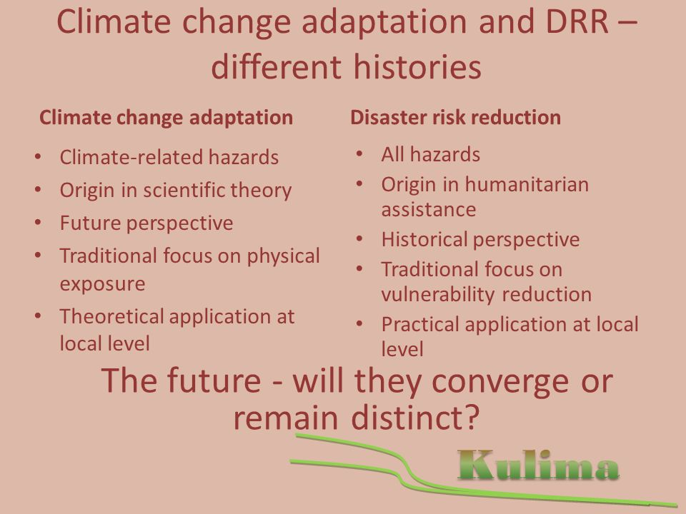 Climate change adaptation and DRR – different histories Climate change adaptation Climate-related hazards Origin in scientific theory Future perspective Traditional focus on physical exposure Theoretical application at local level Disaster risk reduction All hazards Origin in humanitarian assistance Historical perspective Traditional focus on vulnerability reduction Practical application at local level The future - will they converge or remain distinct