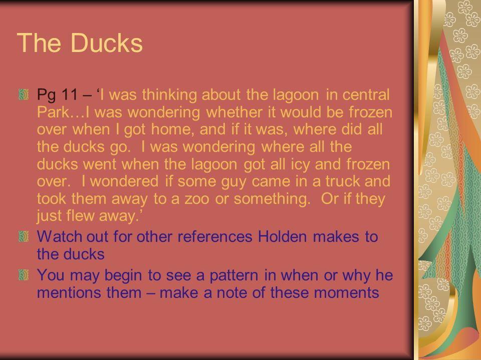 The Ducks Pg 11 – I was thinking about the lagoon in central Park…I was wondering whether it would be frozen over when I got home, and if it was, where did all the ducks go.