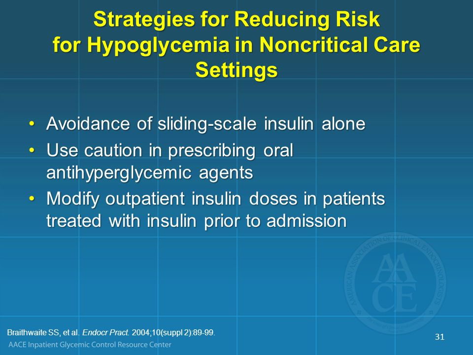 Strategies for Reducing Risk for Hypoglycemia in Noncritical Care Settings Avoidance of sliding-scale insulin aloneAvoidance of sliding-scale insulin