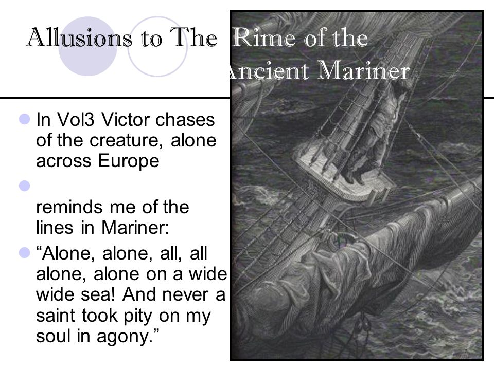 In Vol3 Victor chases of the creature, alone across Europe reminds me of the lines in Mariner: Alone, alone, all, all alone, alone on a wide wide sea!