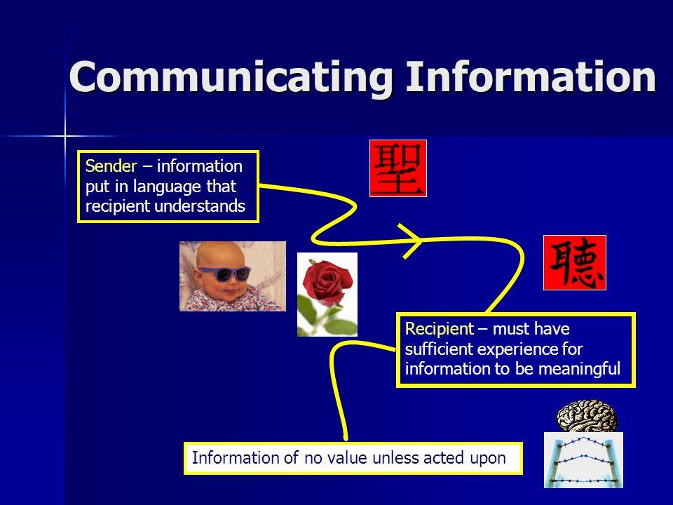 Communicating Information Sender – information put in language that recipient understands Recipient – must have sufficient experience for information