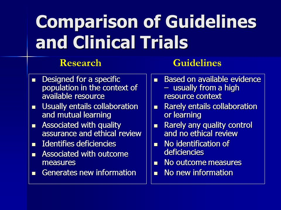 Comparison of Guidelines and Clinical Trials Designed for a specific population in the context of available resource Designed for a specific populatio