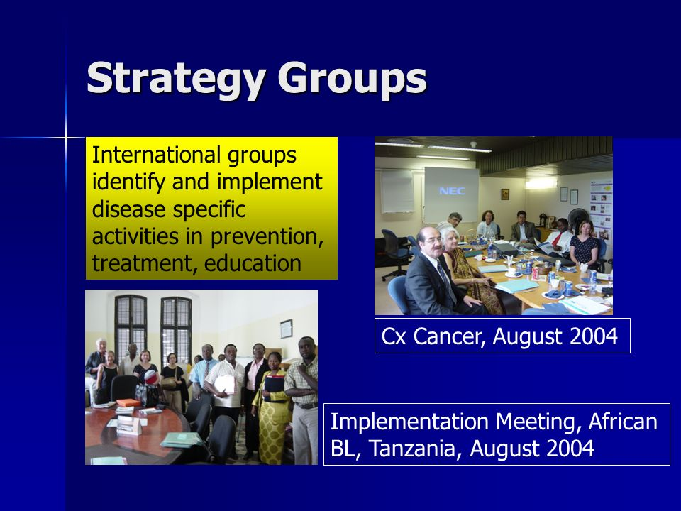 Strategy Groups International groups identify and implement disease specific activities in prevention, treatment, education Cx Cancer, August 2004 Implementation Meeting, African BL, Tanzania, August 2004