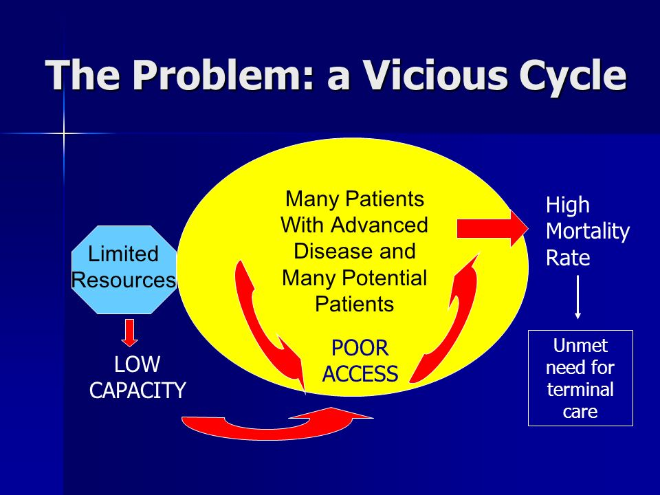 The Problem: a Vicious Cycle Limited Resources Many Patients With Advanced Disease and Many Potential Patients LOW CAPACITY POOR ACCESS High Mortality Rate Unmet need for terminal care