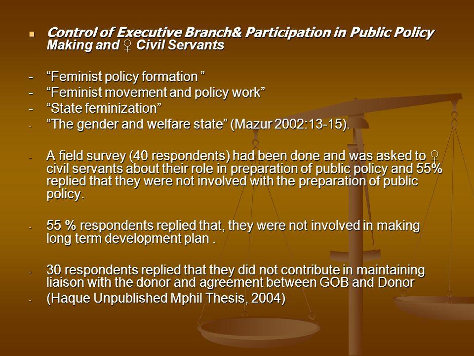 Control of Executive Branch& Participation in Public Policy Making and Civil Servants Control of Executive Branch& Participation in Public Policy Maki