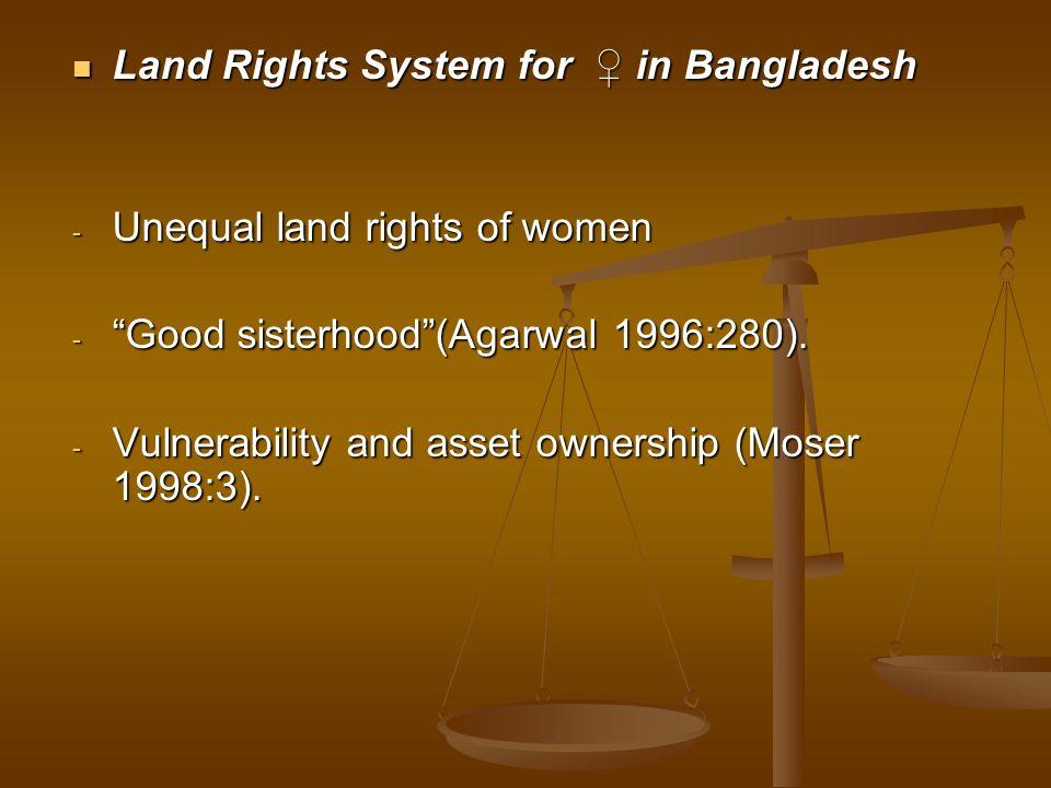 Land Rights System for in Bangladesh Land Rights System for in Bangladesh - Unequal land rights of women - Good sisterhood(Agarwal 1996:280). - Vulner