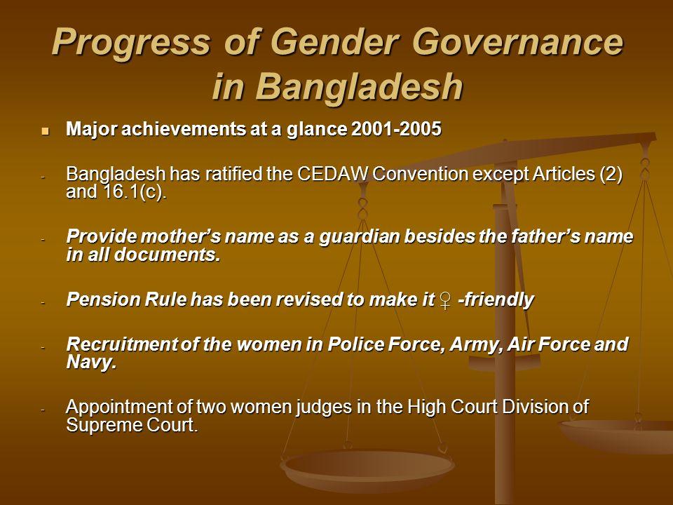 Progress of Gender Governance in Bangladesh Major achievements at a glance 2001-2005 Major achievements at a glance 2001-2005 - Bangladesh has ratifie