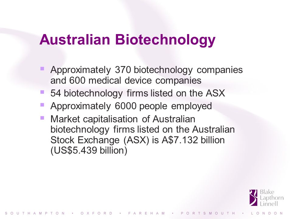 Indian Biotechnology 265 firms registered in India, over 75% of which were incorporated in the last five years The top five companies were homegrown; Indian firms account for 62% of the biopharma sector and 52% of the industry as a whole Aiming to grow the industry to $5 billion in revenues generated by 1 million employees by 2009