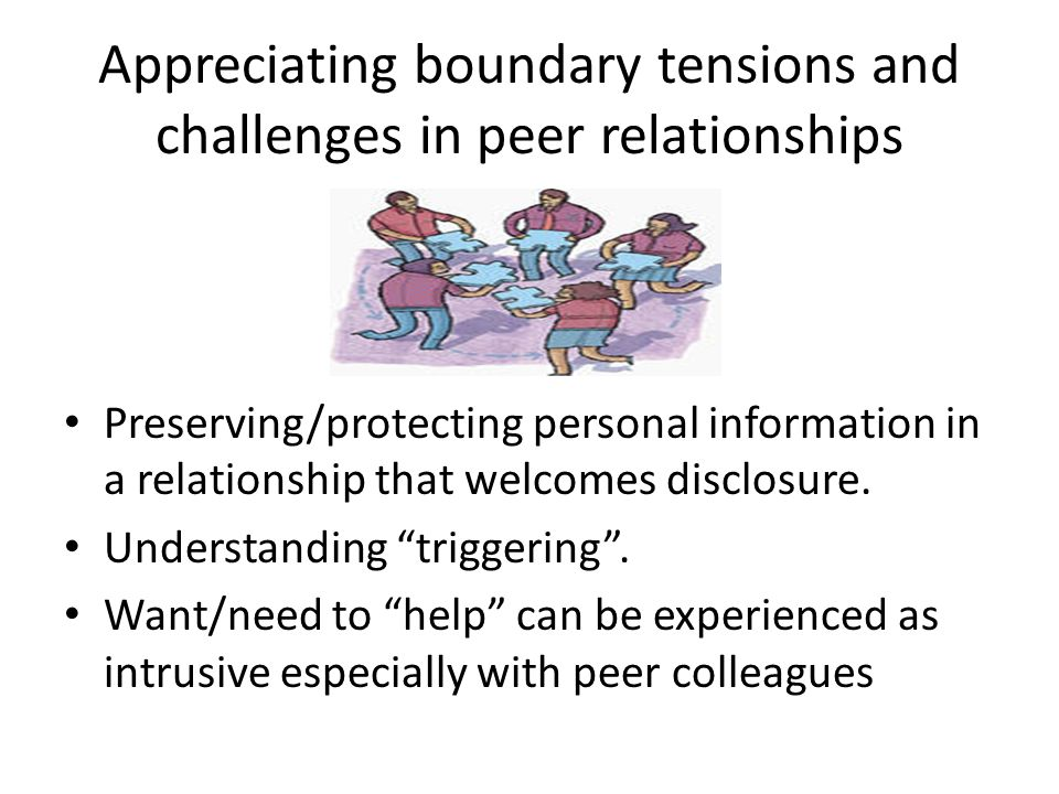 Appreciating boundary tensions and challenges in peer relationships Preserving/protecting personal information in a relationship that welcomes disclos