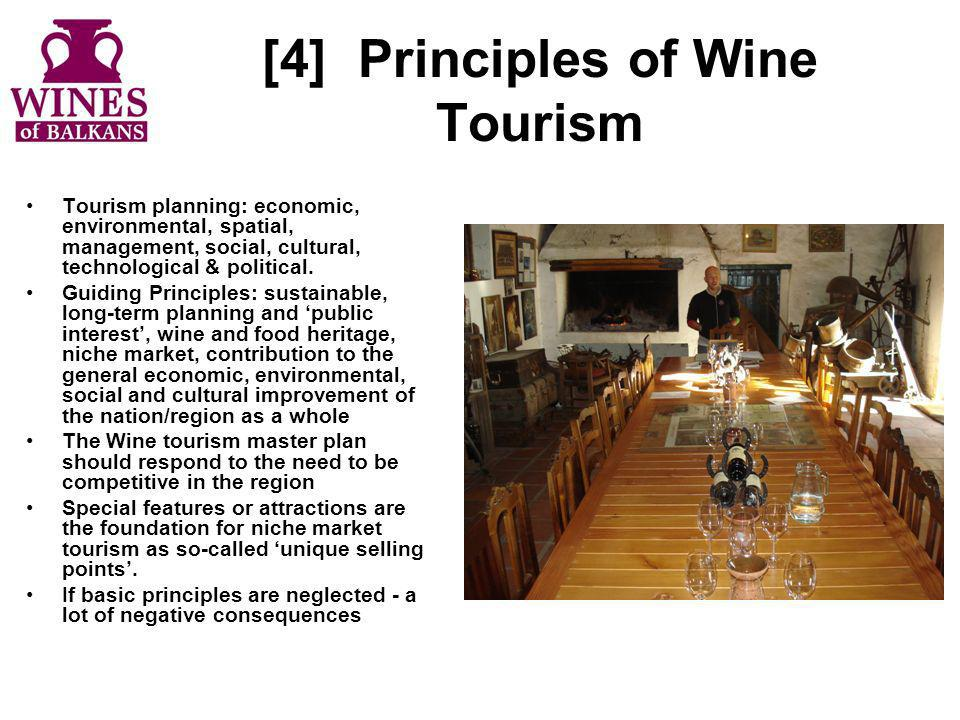 [4]Principles of Wine Tourism Tourism planning: economic, environmental, spatial, management, social, cultural, technological & political. Guiding Pri