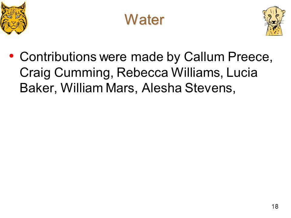 18 Water Contributions were made by Callum Preece, Craig Cumming, Rebecca Williams, Lucia Baker, William Mars, Alesha Stevens,
