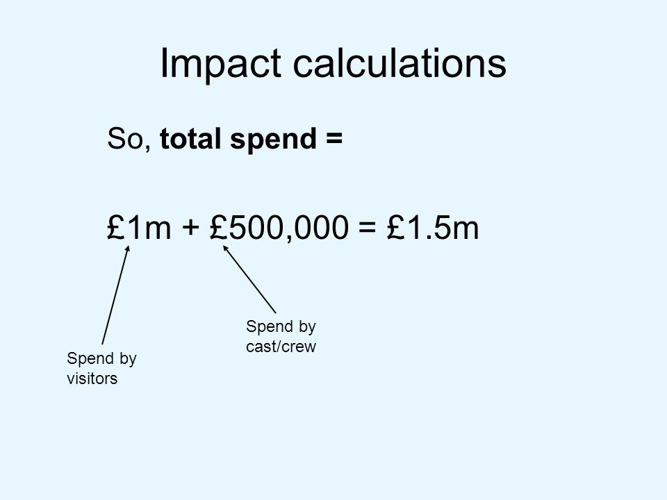 Impact calculations So, total spend = £1m + £500,000 = £1.5m Spend by visitors Spend by cast/crew
