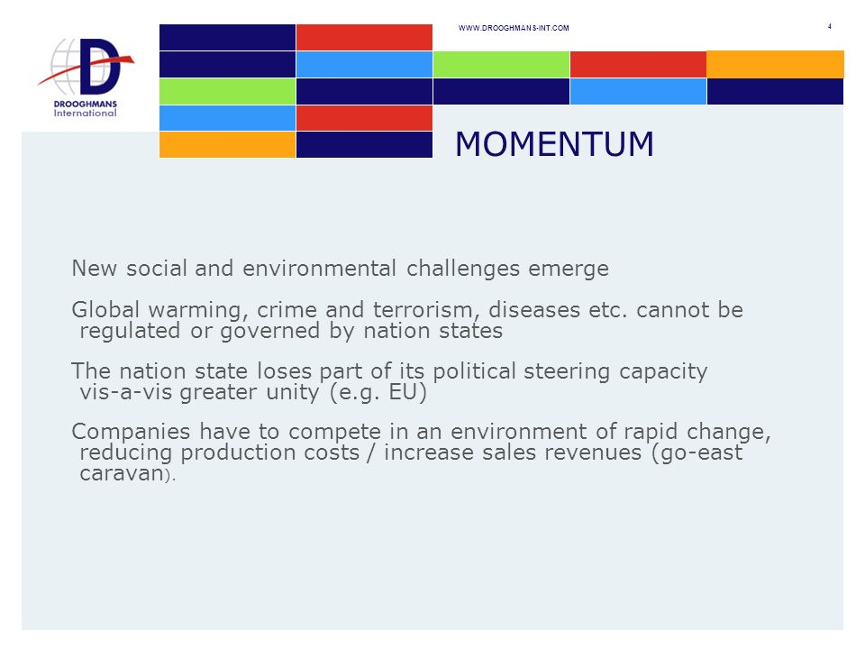 WWW.DROOGHMANS-INT.COM 4 MOMENTUM New social and environmental challenges emerge Global warming, crime and terrorism, diseases etc.