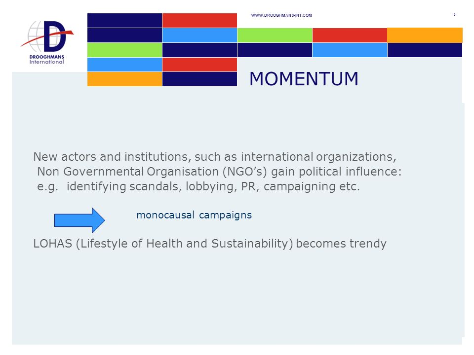 WWW.DROOGHMANS-INT.COM 5 MOMENTUM New actors and institutions, such as international organizations, Non Governmental Organisation (NGOs) gain political influence: e.g.