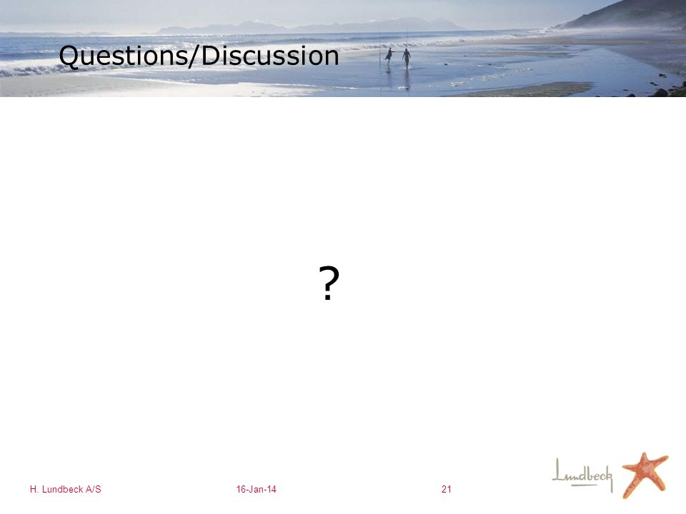 H. Lundbeck A/S16-Jan-1421 Questions/Discussion