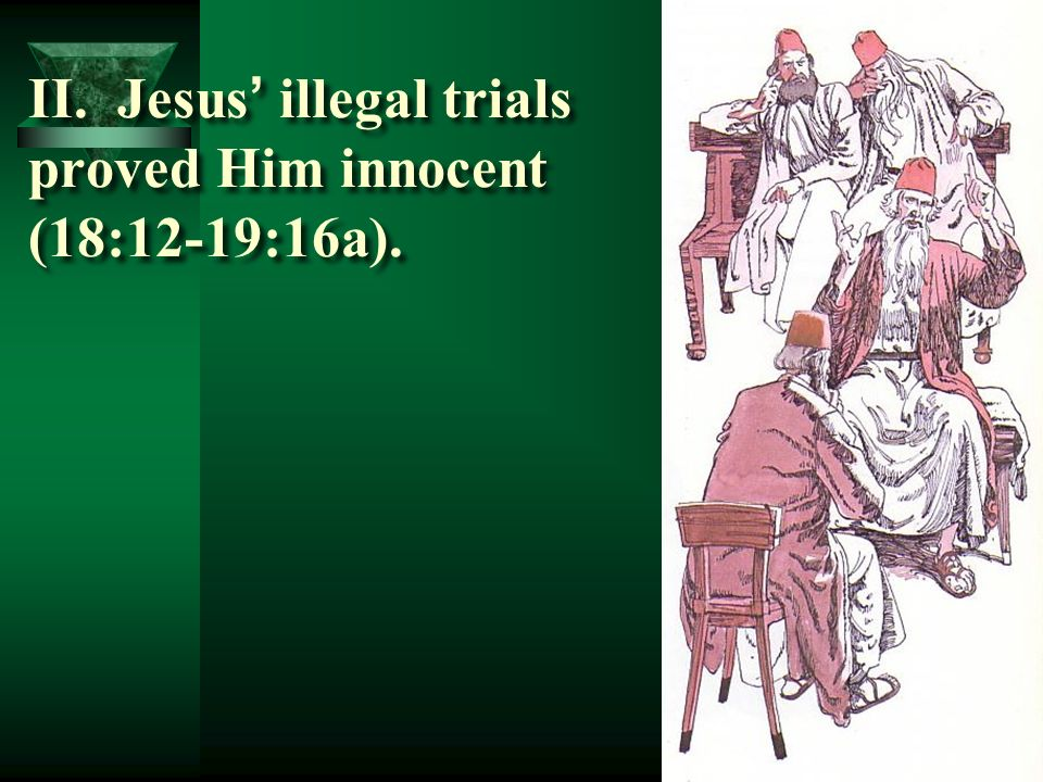 II. Jesus illegal trials proved Him innocent (18:12-19:16a).