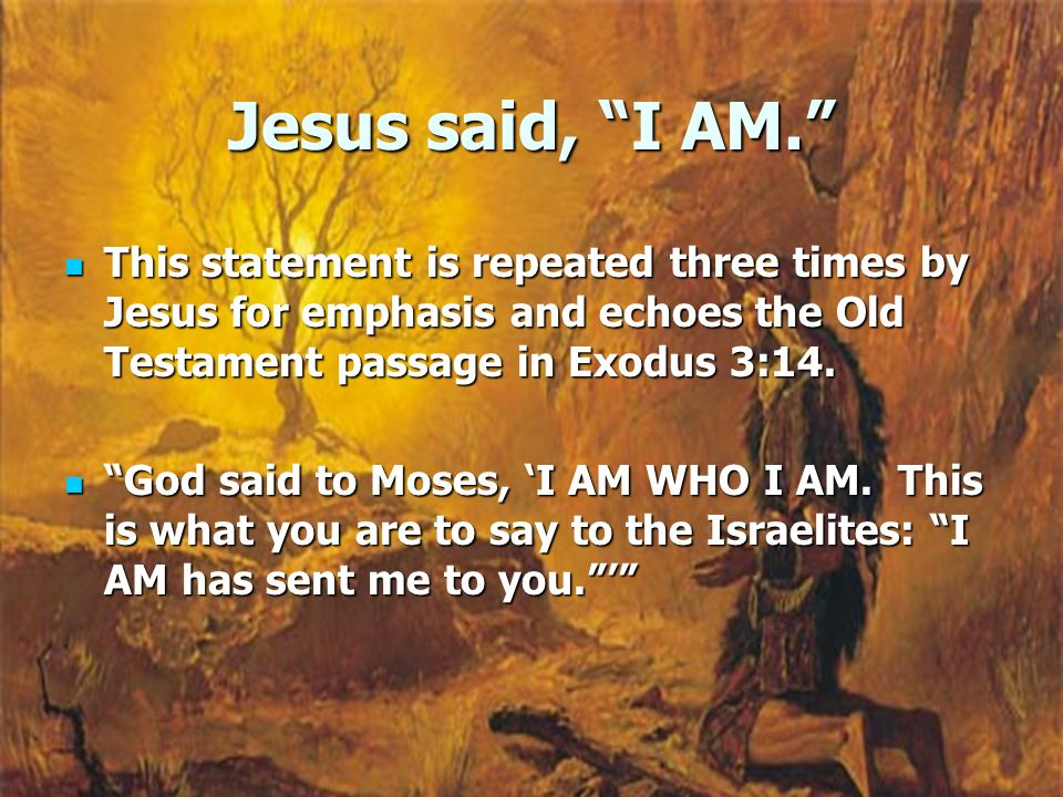 Jesus said, I AM. This statement is repeated three times by Jesus for emphasis and echoes the Old Testament passage in Exodus 3:14. This statement is