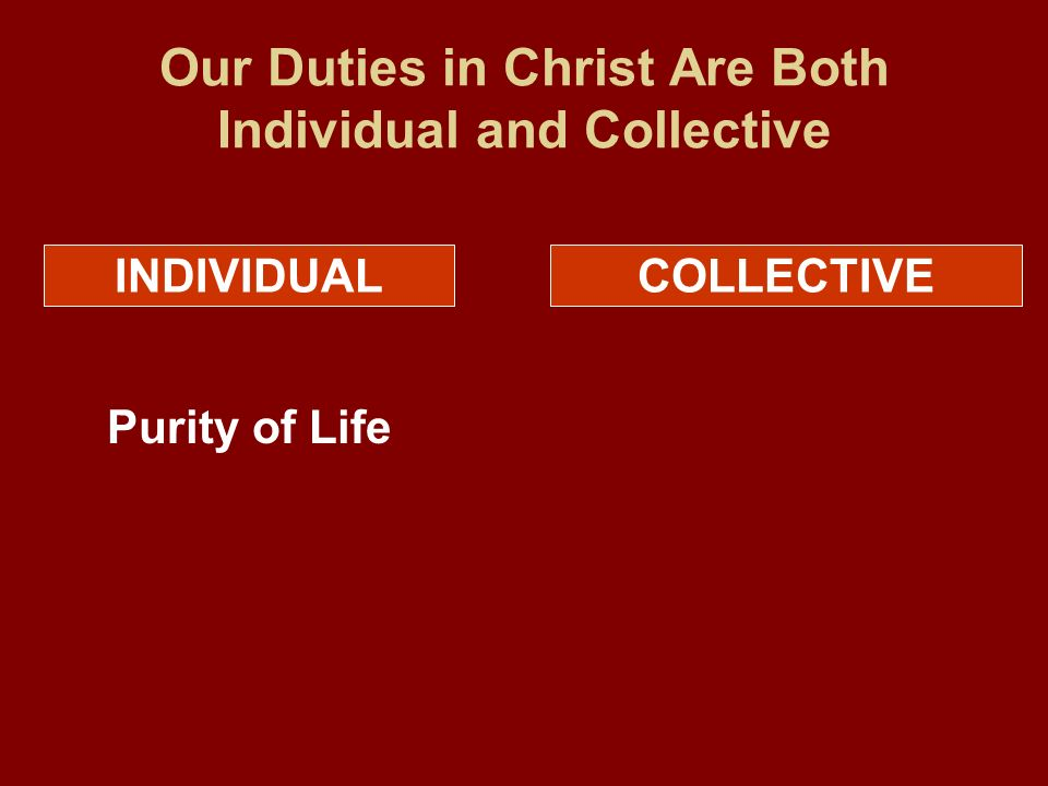 Our Duties in Christ Are Both Individual and Collective INDIVIDUALCOLLECTIVE Purity of Life