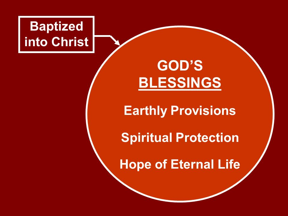 Baptized into Christ GODS BLESSINGS Earthly Provisions Spiritual Protection Hope of Eternal Life