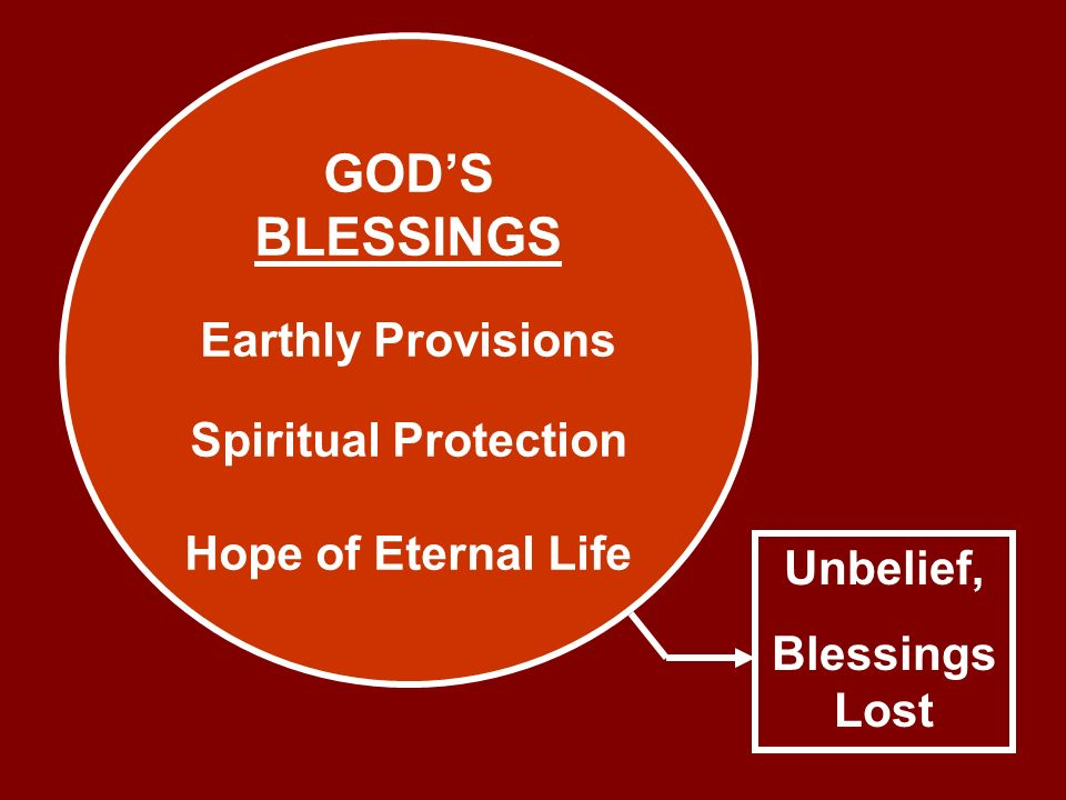 GODS BLESSINGS Earthly Provisions Spiritual Protection Hope of Eternal Life Unbelief, Blessings Lost