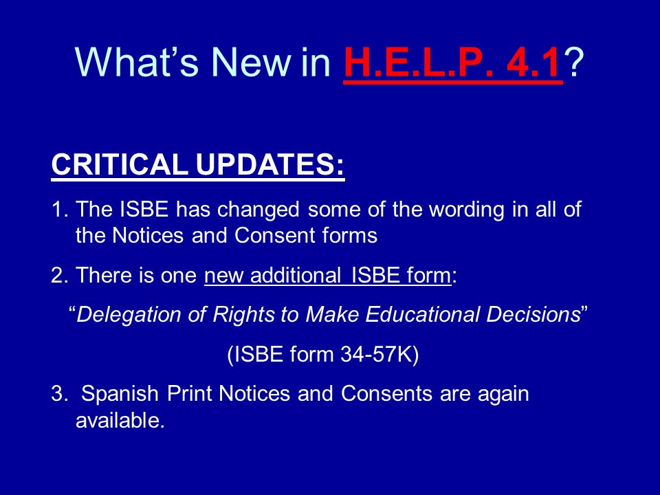 There are 3 new optional forms in H.E.L.P.
