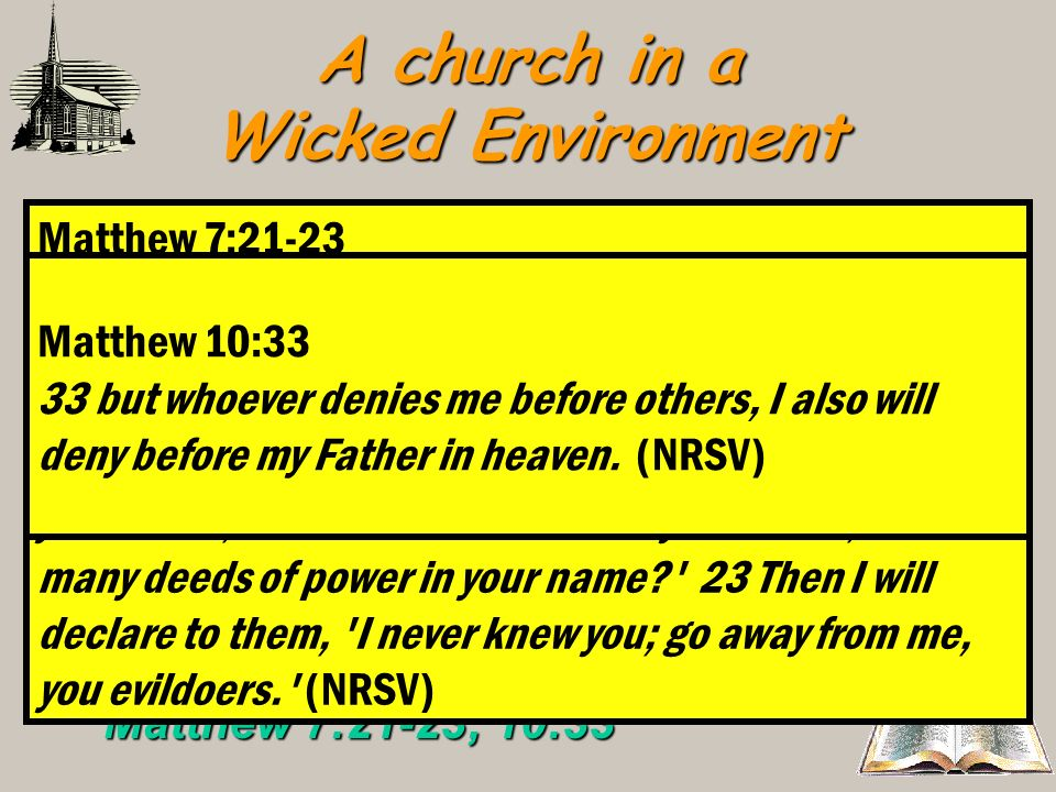 A church in a Wicked Environment Revelation 2:13Thou holdest fast my name – Revelation 2:13 Acts 11:26; 1 Peter 4:16Christians must honor the name of