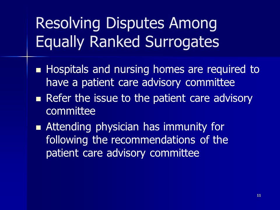 11 Resolving Disputes Among Equally Ranked Surrogates Hospitals and nursing homes are required to have a patient care advisory committee Refer the iss