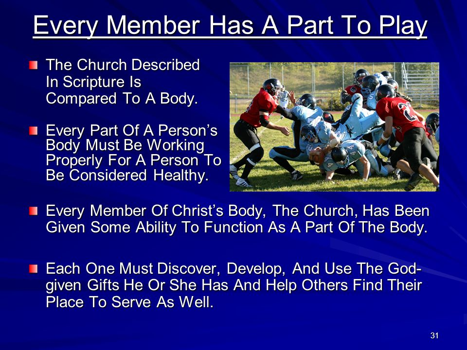 31 Every Member Has A Part To Play The Church Described In Scripture Is Compared To A Body. Every Part Of A Persons Body Must Be Working Properly For