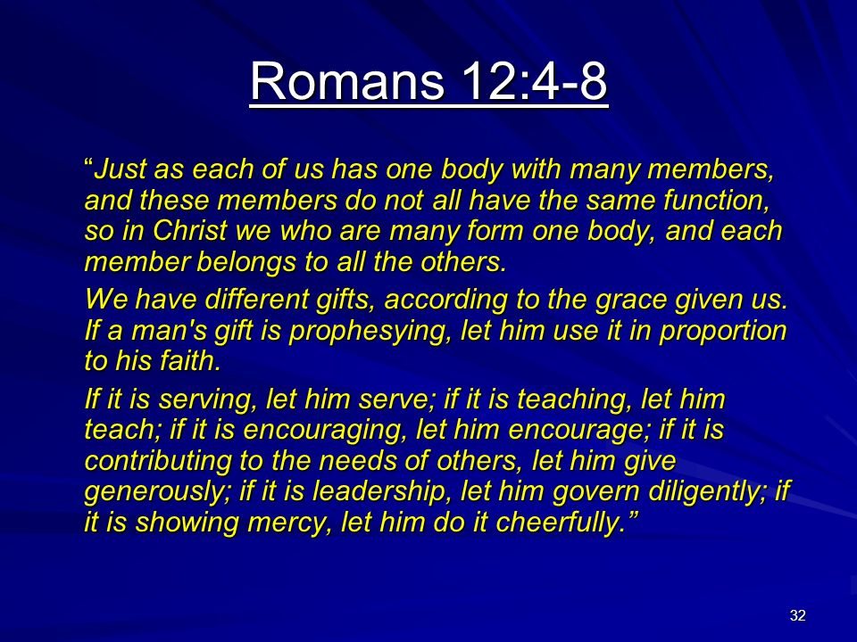 32 Romans 12:4-8 Just as each of us has one body with many members, and these members do not all have the same function, so in Christ we who are many