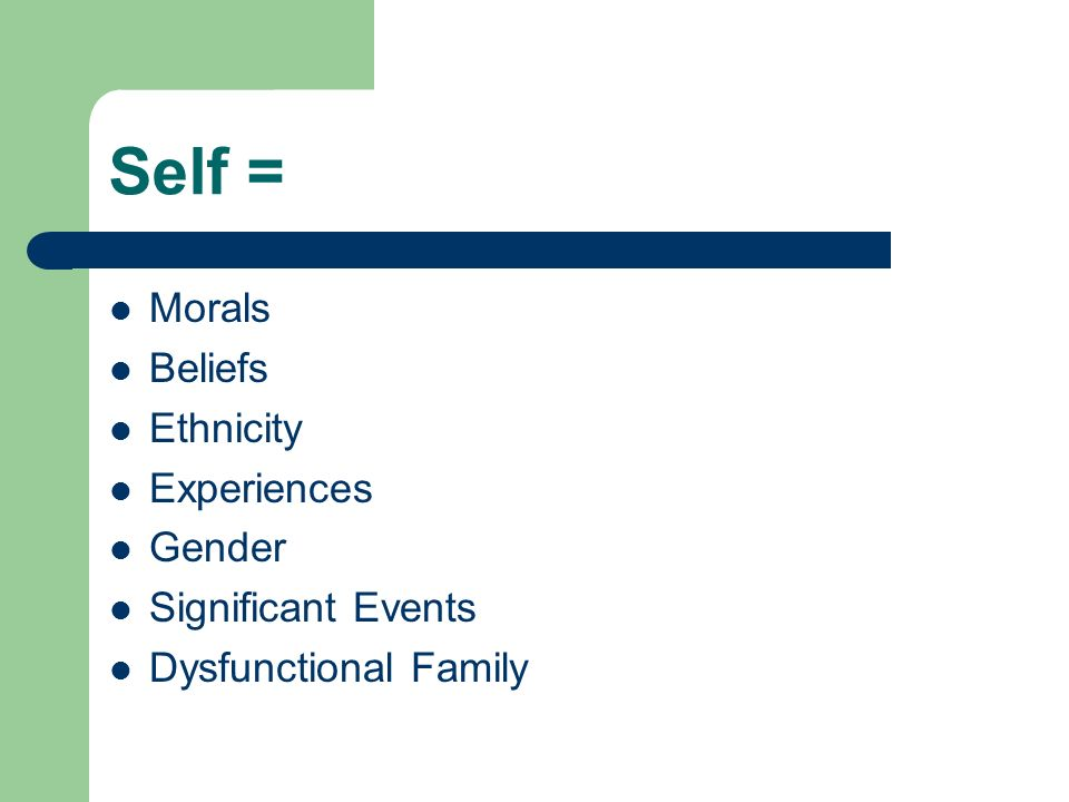 Self = Morals Beliefs Ethnicity Experiences Gender Significant Events Dysfunctional Family