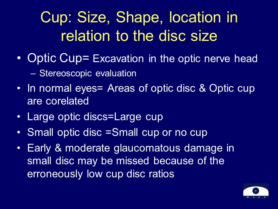 Cup: Size, Shape, location in relation to the disc size Optic Cup= Excavation in the optic nerve head –Stereoscopic evaluation In normal eyes= Areas o