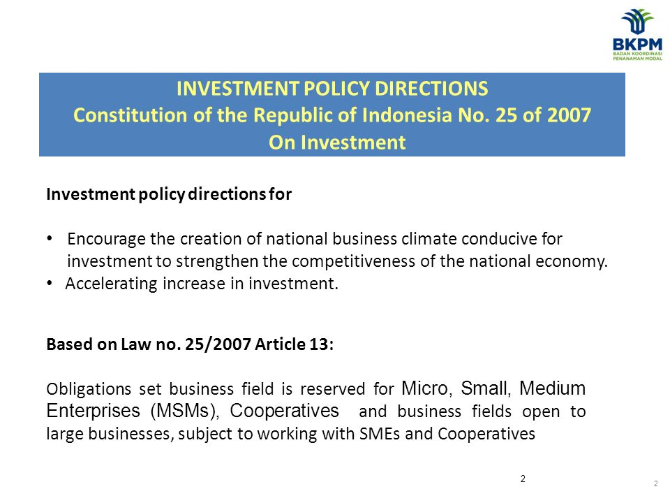 2 INVESTMENT POLICY DIRECTIONS Constitution of the Republic of Indonesia No.