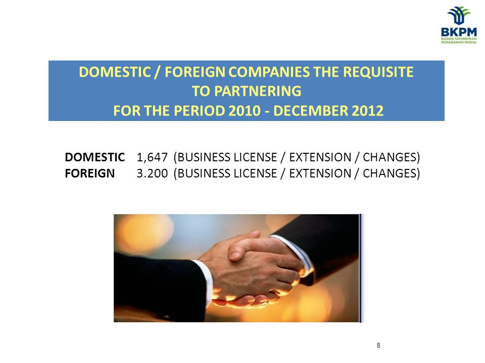 8 DOMESTIC 1,647 (BUSINESS LICENSE / EXTENSION / CHANGES) FOREIGN 3.200 (BUSINESS LICENSE / EXTENSION / CHANGES) DOMESTIC / FOREIGN COMPANIES THE REQUISITE TO PARTNERING FOR THE PERIOD 2010 - DECEMBER 2012