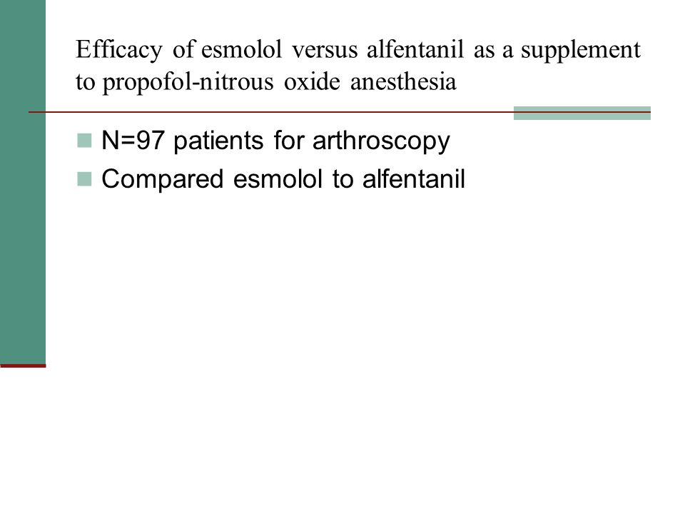 Efficacy of esmolol versus alfentanil as a supplement to propofol-nitrous oxide anesthesia N=97 patients for arthroscopy Compared esmolol to alfentanil