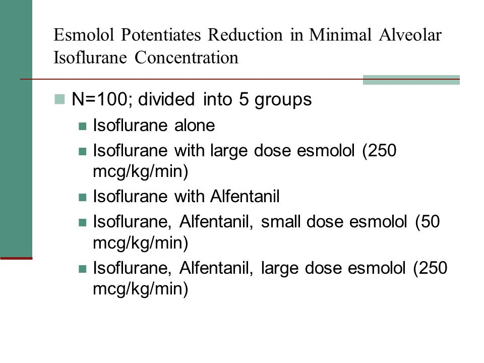 Esmolol Potentiates Reduction in Minimal Alveolar Isoflurane Concentration N=100; divided into 5 groups Isoflurane alone Isoflurane with large dose esmolol (250 mcg/kg/min) Isoflurane with Alfentanil Isoflurane, Alfentanil, small dose esmolol (50 mcg/kg/min) Isoflurane, Alfentanil, large dose esmolol (250 mcg/kg/min)
