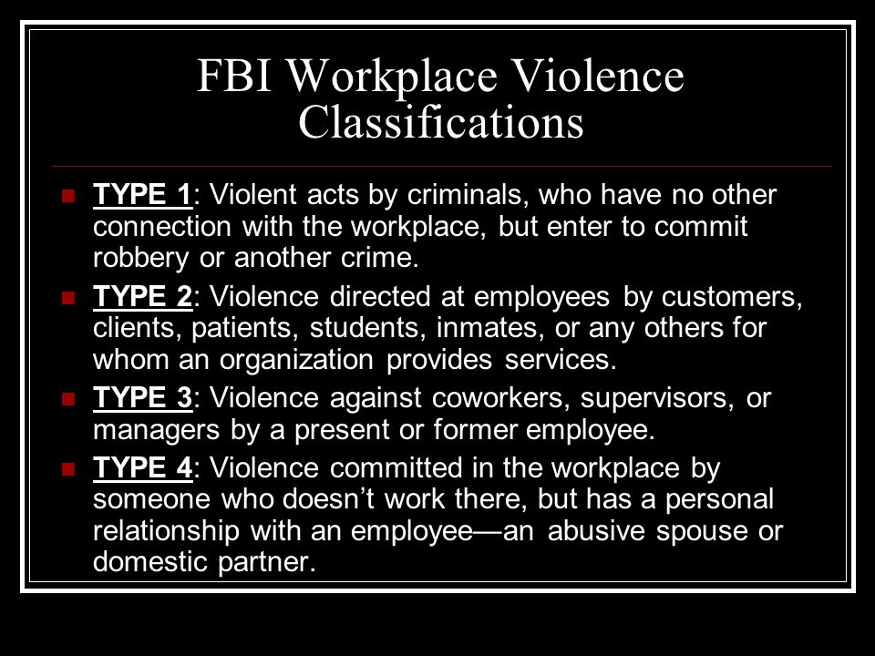 Workplace Violence Defined: Workplace violence is physical violence or the threat of violence against workers. Can range from threats and verbal abuse