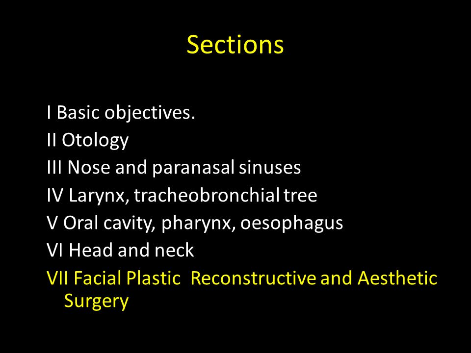 Sections I Basic objectives. II Otology III Nose and paranasal sinuses IV Larynx, tracheobronchial tree V Oral cavity, pharynx, oesophagus VI Head and