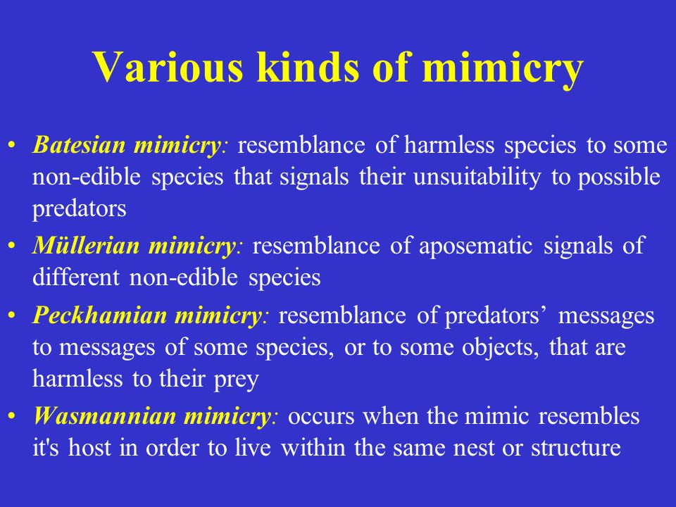 Various kinds of mimicry Batesian mimicry: resemblance of harmless species to some non-edible species that signals their unsuitability to possible pre