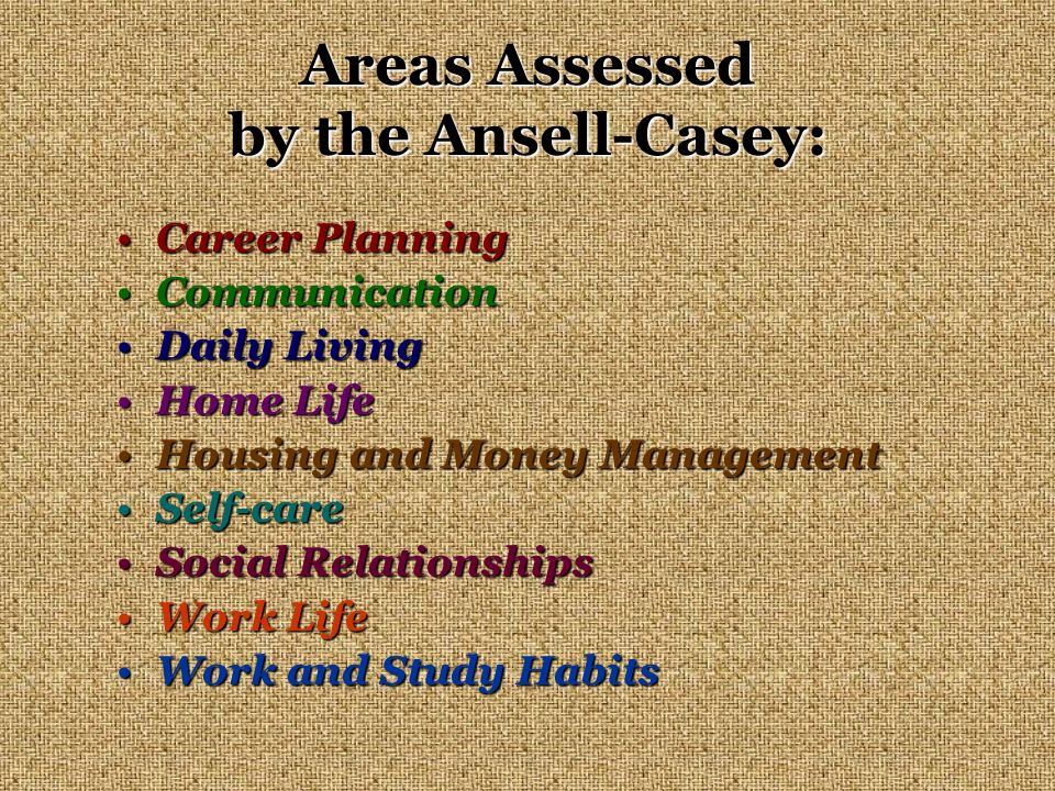 Areas Assessed by the Ansell-Casey: Career PlanningCareer Planning CommunicationCommunication Daily LivingDaily Living Home LifeHome Life Housing and