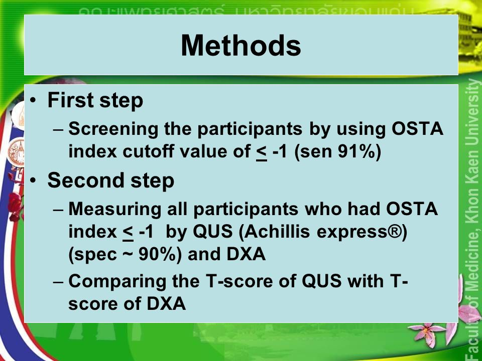 Methods First step –Screening the participants by using OSTA index cutoff value of < -1 (sen 91%) Second step –Measuring all participants who had OSTA