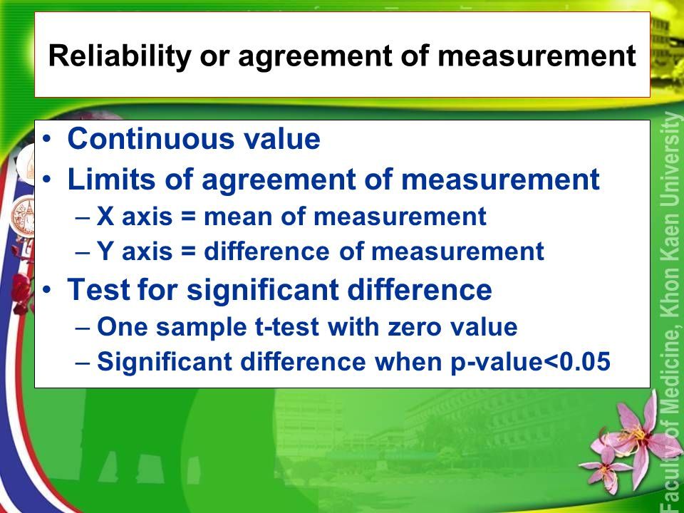 Reliability or agreement of measurement Continuous value Limits of agreement of measurement –X axis = mean of measurement –Y axis = difference of measurement Test for significant difference –One sample t-test with zero value –Significant difference when p-value<0.05