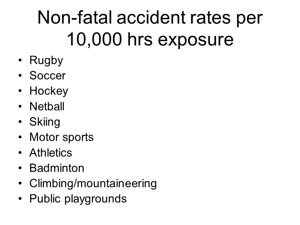 Task Using the following list of activities approximate the accident rate/frequency for each activity per 100,000 hours of exposure.