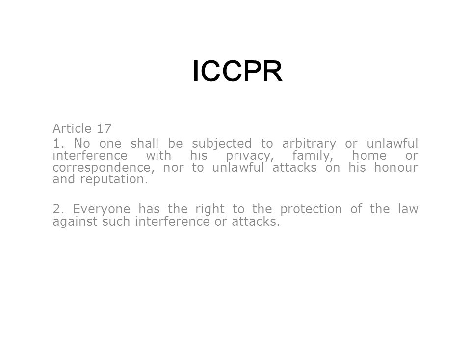 ICCPR Article 17 1.